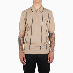 Fred Perry Vertical Stripe Knit Shirt - Biscuit