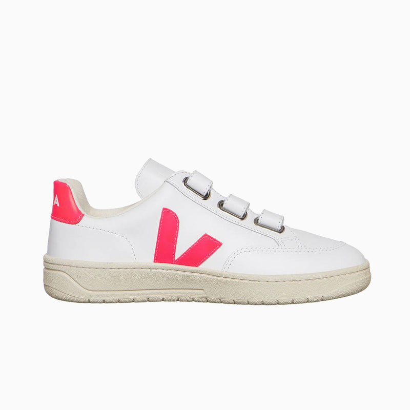 Veja V-Lock Leather - Extra White / Rose Fluo