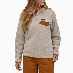 Patagonia Women's Light Weight Synch Snap-T Pull Over - Oatmeal Heather/Wood Brown