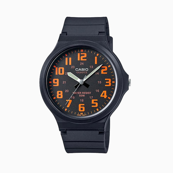 Casio MW240-4B Gents Analogue Watch - Blk Face/Orange Number