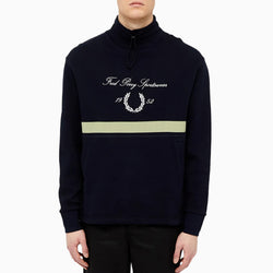 Fred Perry Emb Funnel Neck Sweatshirt - Navy