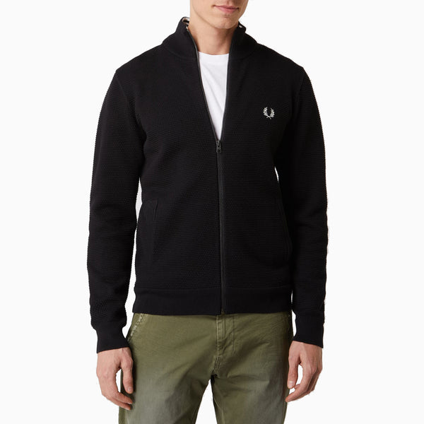 Fred Perry Texture Knitted Track Jacket - Black