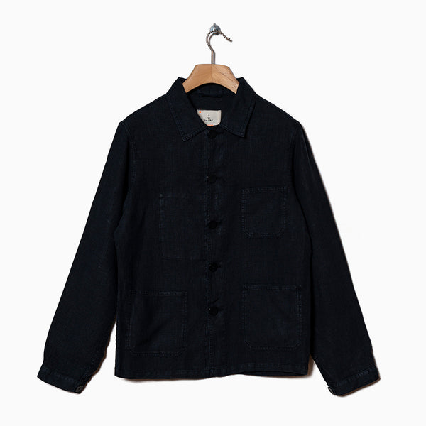 La Paz BAPTISTA 100% Linen Worker Jacket - Dark Navy