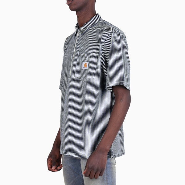 Carhartt Short Sleeved Dash Shirt - Black / White Rinsed