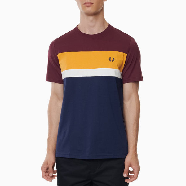 Fred Perry Colour Block T-Shirt - Mahogany