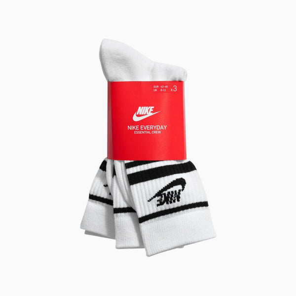 Nike Sports Wear Essential Socks (3 Pairs)- White/Black