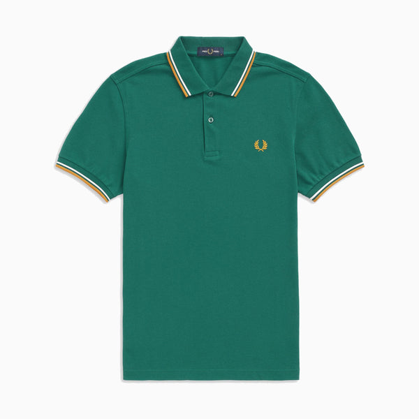 Fred Perry Twin Tipped Fred Perry Shirt - Light Petrol/Snow White/Amber