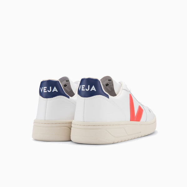 Veja V-10 Leather - Extra White/Orange-Fluo Cobalt