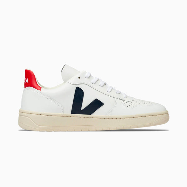 VEJA V-10 Leather - White/Nautico Pekin