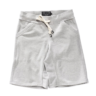 Warm Breathable Sweat Shorts with Drawcord Tailored Fit Comfortable Luxury Light Grey Sueded Napped Soft French Felted Cotton Terry with Cell Phone Pockets