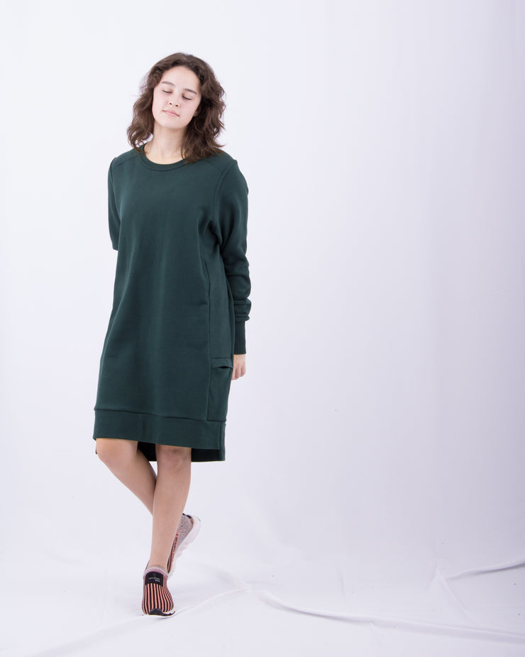 Warm Breathable Long Sleeve Dress Loose Fit Comfortable Luxury Dark Green Sueded Napped Soft French Felted Cotton Terry with Cell Phone Pockets Flatlocked Seams Coverstitched