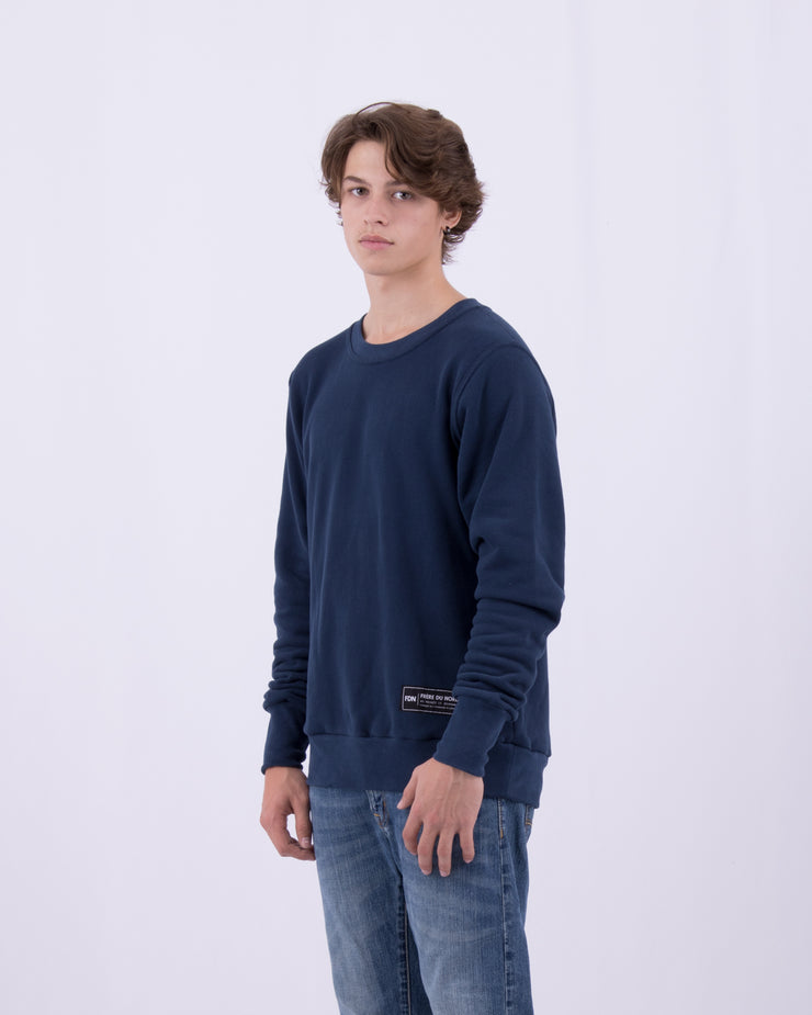 Mens Warm Sweat Top Regular Fit Comfortable Luxury Dark Blue Sueded Napped Soft French Felted Cotton Terry Fabriqué au Canada