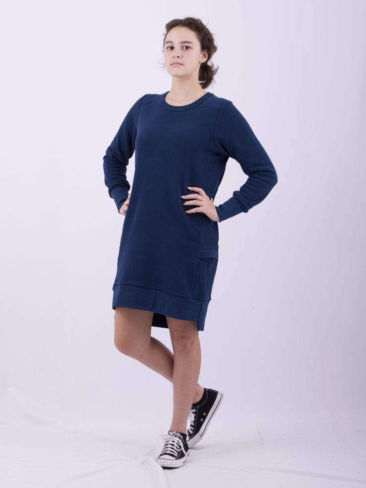 Warm Breathable Long Sleeve Dress Loose Fit Comfortable Luxury Dark Blue Sueded Napped Soft French Felted Cotton Terry with Cell Phone Pockets Flatlocked Seams Coverstitched