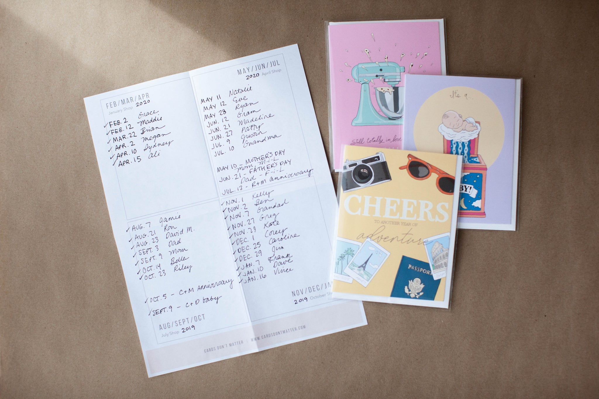 greeting cards next to a Handwritten Love List