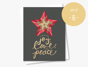 Joy, Love, and Peace Star - Set of 6