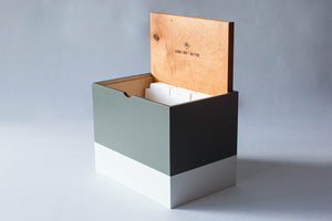 Hand-Built Lidded Organizer with Dividers (Charcoal/Stone)