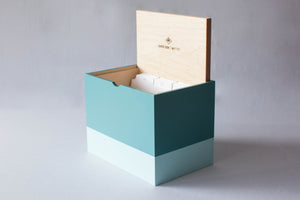 Hand-Built Lidded Organizer with Dividers (Aquamarine/Mint)