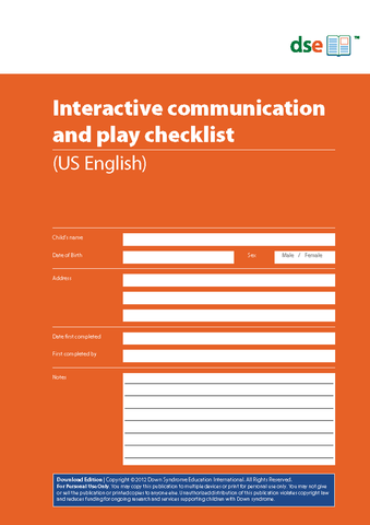 Interactive Communication and Play Checklist - PDF Edition