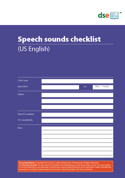Speech Sounds Checklist - PDF Edition