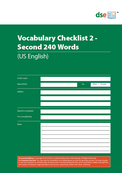 Vocabulary Checklist 2 - Second 340 Words - PDF Edition