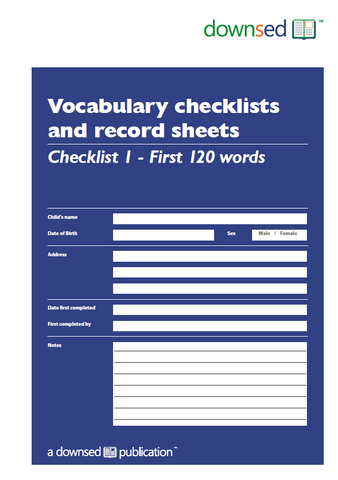 Vocabulary Checklists and Record Sheets - Checklist 1 - First 120 Words - Printed Edition