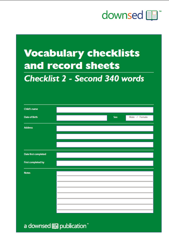 Vocabulary Checklists and Record Sheets - Checklist 2 - Second 340 Words - Printed Edition