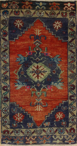 Vintage Geometric Oushak Turkish Wool Rug