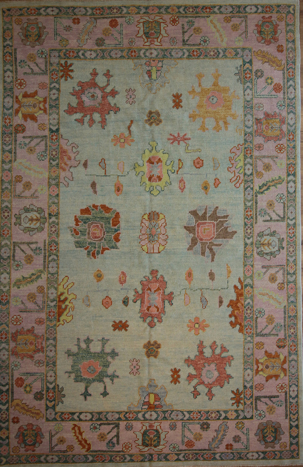 Vegetable Dye Oushak Turkish Area Rug 6 x 9 One of a Kind