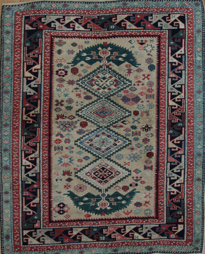 Geometric Super Kazak Oriental Area Rug 3 x 5 One of a Kind