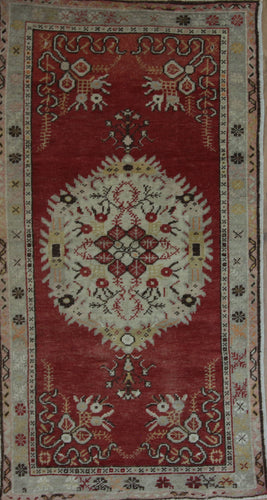 Geometric Red Anatolian Turkish Area Rug 3x5  One of a Kind