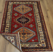 Load image into Gallery viewer, Red Vegetable Dye Super Kazak Oriental Rug 3 x 5 One of a Kind