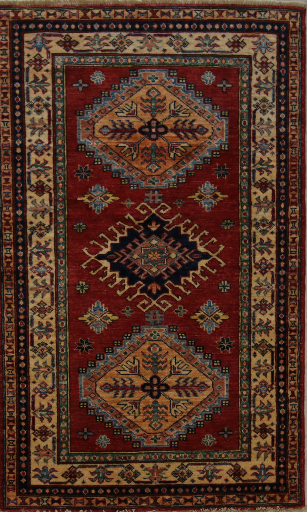 Red Vegetable Dye Super Kazak Oriental Rug 3 x 5 One of a Kind