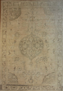 Muted  Oushak Turkish Area Rug 6 x 9 One of a Kind