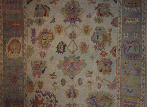 Floral Oushak Vegetable Dye Turkish Area Rug 9x12 One of a Kind