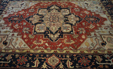 Load image into Gallery viewer, Floral Heriz Serapi Oriental Area Rug 9x12 One of a Kind