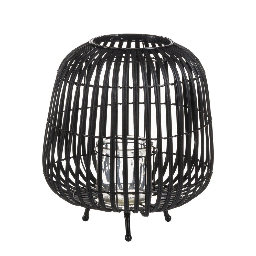 Load image into Gallery viewer, Large Black Rattan Bulbous Lantern - Maison Margot