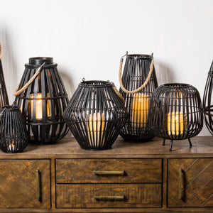Black Rattan Large Convex Lantern - Maison Margot
