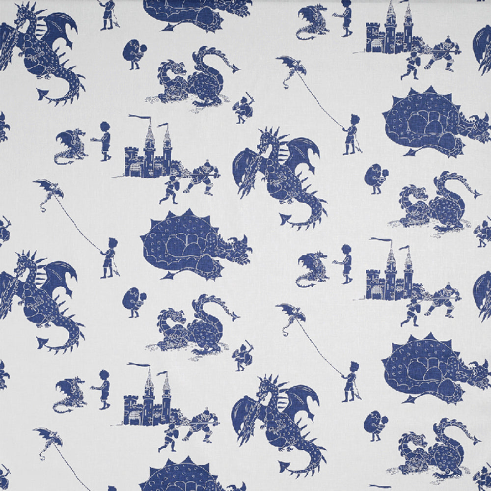 'Ere Be Dragons Blue and Blue Fabric