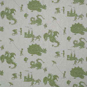 'Ere Be Dragons Grey and Green Fabric