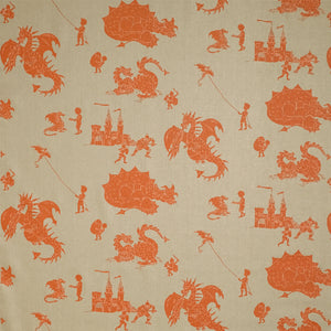 'Ere Be Dragons Taupe and Orange Fabric