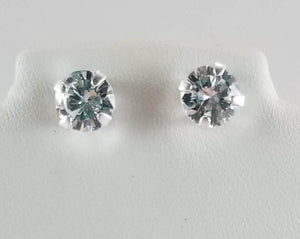 NWT .925 Sterling Silver 7 mm CZ Stud Earrings