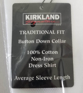Kirkland Signature Non-Iron Traditional Fit Men's Button Down Dress Shirt, White