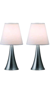 Simple Designs LT2014-WHT-2PK Valencia Brushed Nickel Mini Touch Table Lamps