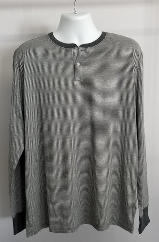 Men's Merona Long Sleeved 2 button Henley style shirt - grey stripes XXL