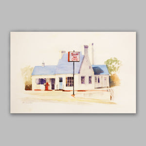Framed Watercolor Texas Inn Print