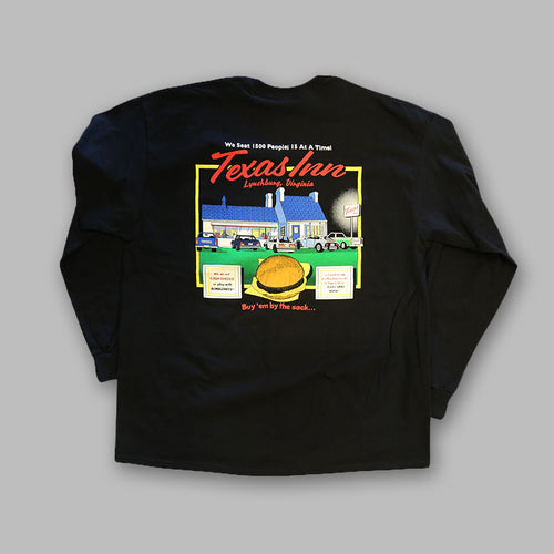 Back of Black Classic Long Sleeve Texas Inn Shirt