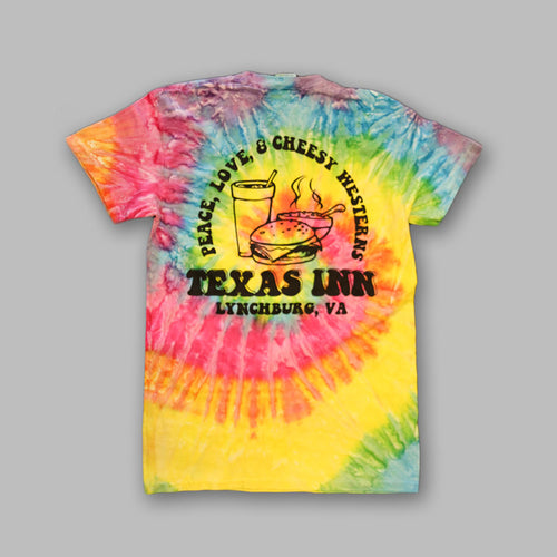 Back of RETRO Tie Dye Texas Inn T-Shirts