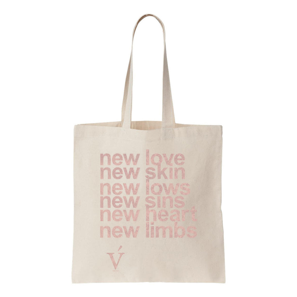 new love new skin tote bag