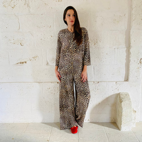 Jumpsuit in Leopard silk