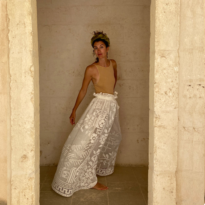 One of a Kind Marta Ferri Riccio Skirt in vintage Crochet